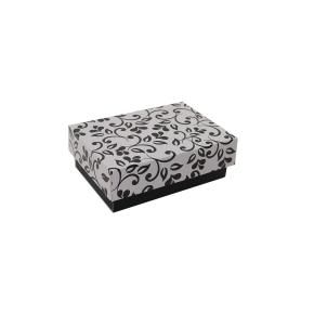 Darčeková krabička 150x100x50/35 mm, čierno sivá so vzorom na veku, čierné lístky