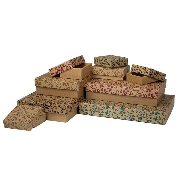 66a220578 Darčeková krabička 150x100x50/35 mm, hnedá so vzorom na veku, hnedé lístky