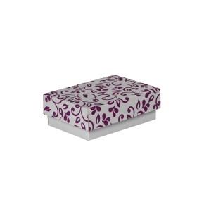 Darčeková krabička 150x100x50/35 mm, sivá so vzorom na veku, fialové lístky