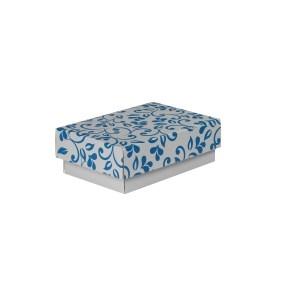 Darčeková krabička 150x100x50/35 mm, sivá so vzorom na veku, modré lístečky