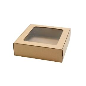 Darčeková krabička 200x195x60 mm, HH výsek s priehľadným okienkom