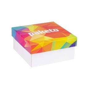 Darčeková krabička 200x200x100 mm, celopotlač veka, biela