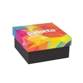 Darčeková krabička 200x200x100 mm, celopotlač veka, čierna