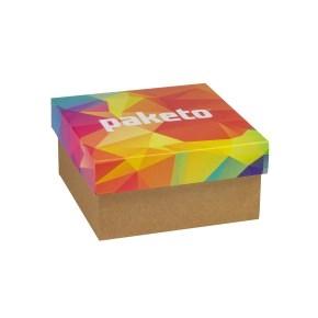 Darčeková krabička 200x200x100 mm, celopotlač veka, kraft