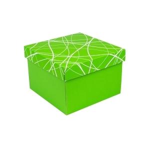 Darčeková krabička 200x200x140/35 mm, zelená so vzorom na veku