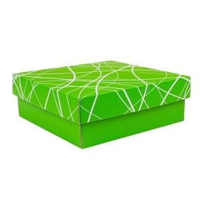 Darčeková krabička 200x200x70/35 mm, zelená so vzorom na veku