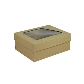 Darčeková krabička 240x180x95 mm, dno + veko s priehľadným okienkom, hnedá