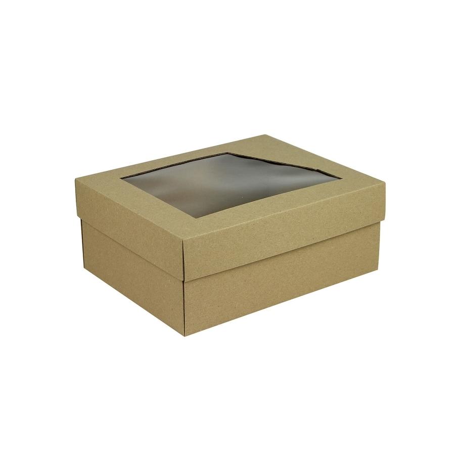 28d3f8475 Darčeková krabička 240x180x95 mm, dno + veko s priehľadným okienkom, hnedá