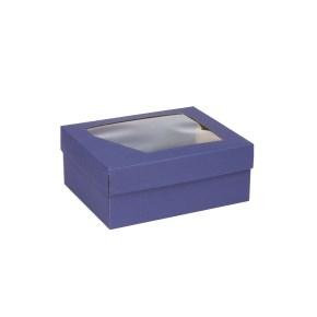 Darčeková krabička 240x180x95 mm, dno + veko s priehľadným okienkom, MODRÁ