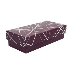 Darčeková krabička 250x100x60/35 mm, vínová so vzorom na veku