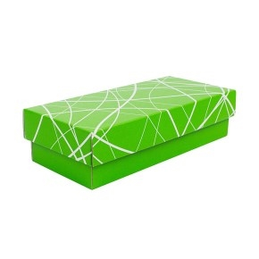 Darčeková krabička 250x100x60/35 mm, zelená so vzorom na veku