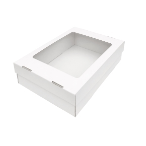 Darčeková krabička 330x230x90/40 mm, dno + veko s priehľadným okienkom, biela