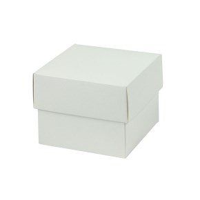 Darčeková krabička dno a veko 70x70x60 mm, bielo/biela