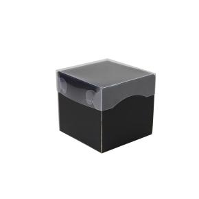 Darčeková krabička s priehľadným vekom 100x100x100/35 mm, čierno šedá matná