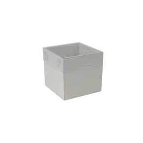 Darčeková krabička s priehľadným vekom 100x100x100/35 mm, šedá matná