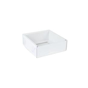 Darčeková krabička s priehľadným vekom 100x100x35/35 mm, biela mierny lesk