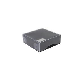Darčeková krabička s priehľadným vekom 100x100x35/35 mm, čierno šedá matná