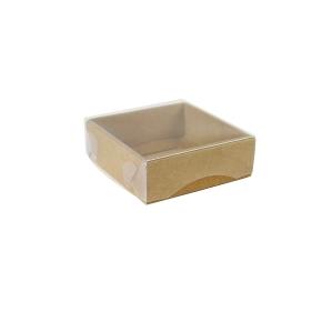 Darčeková krabička s priehľadným vekom 100x100x35/35 mm, hnedá - kraftová