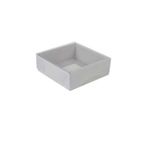 Darčeková krabička s priehľadným vekom 100x100x35/35 mm, šedá matná