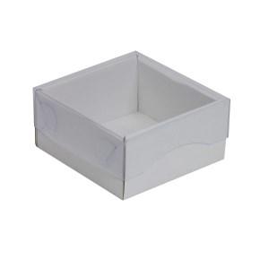 Darčeková krabička s priehľadným vekom 100x100x50/35 mm, biela