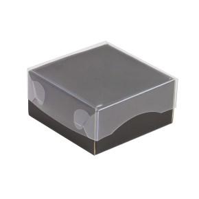 Darčeková krabička s priehľadným vekom 100x100x50/35 mm, čierna