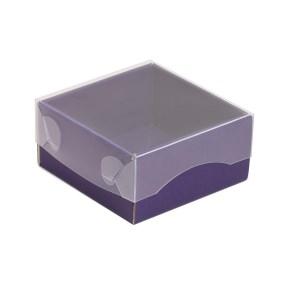 Darčeková krabička s priehľadným vekom 100x100x50/35 mm, fialová