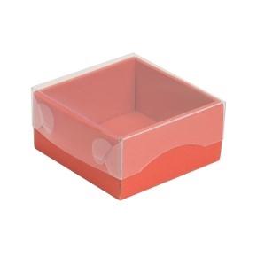Darčeková krabička s priehľadným vekom 100x100x50/35 mm, koralová