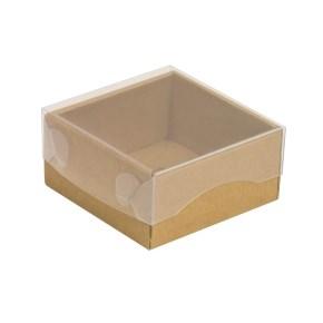 Darčeková krabička s priehľadným vekom 100x100x50/35 mm, kraftová - hnedá