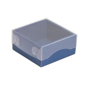 Darčeková krabička s priehľadným vekom 100x100x50/35 mm, modrá