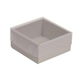 Darčeková krabička s priehľadným vekom 100x100x50/35 mm, sivá