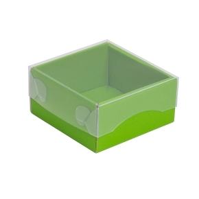 Darčeková krabička s priehľadným vekom 100x100x50/35 mm, zelená