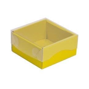 Darčeková krabička s priehľadným vekom 100x100x50/35 mm, žltá