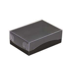 Darčeková krabička s priehľadným vekom 150x100x50/35 mm, čierna