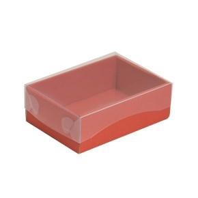 Darčeková krabička s priehľadným vekom 150x100x50/35 mm, koralová