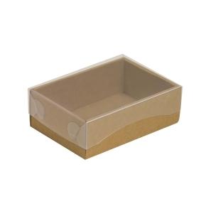 Darčeková krabička s priehľadným vekom 150x100x50/35 mm, kraftová - hnedá