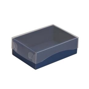 Darčeková krabička s priehľadným vekom 150x100x50/35 mm, modrá
