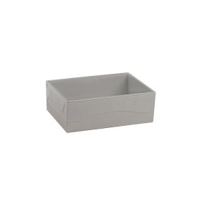 Darčeková krabička s priehľadným vekom 150x100x50/35 mm, šedá matná