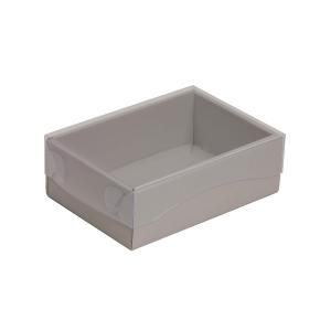 Darčeková krabička s priehľadným vekom 150x100x50/35 mm, sivá