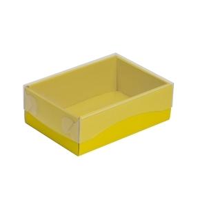 Darčeková krabička s priehľadným vekom 150x100x50/35 mm, žltá
