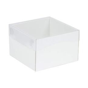 Darčeková krabička s priehľadným vekom 150x150x100 mm, biela