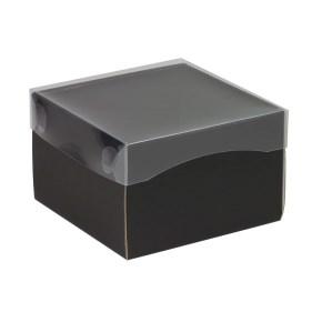 Darčeková krabička s priehľadným vekom 150x150x100 mm, čierna