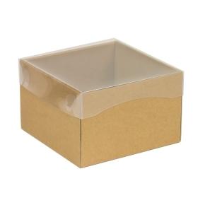 Darčeková krabička s priehľadným vekom 150x150x100 mm, hnedá - kraft