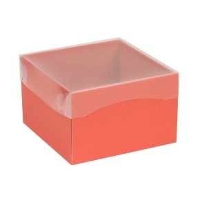 Darčeková krabička s priehľadným vekom 150x150x100 mm, koralová