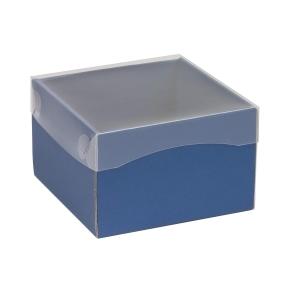 Darčeková krabička s priehľadným vekom 150x150x100 mm, modrá