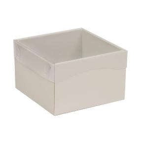 Darčeková krabička s priehľadným vekom 150x150x100 mm, sivá