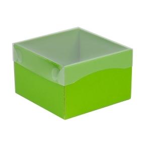Darčeková krabička s priehľadným vekom 150x150x100 mm, zelená