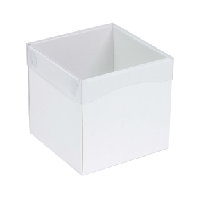 Darčeková krabička s priehľadným vekom 150x150x150 mm, biela