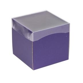 Darčeková krabička s priehľadným vekom 150x150x150 mm, fialová