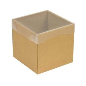Darčeková krabička s priehľadným vekom 150x150x150 mm, hnedá - kraft