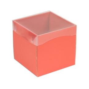 Darčeková krabička s priehľadným vekom 150x150x150 mm, koralová